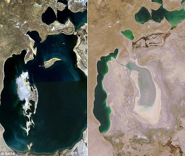 wilayah Laut Aral atau danau aral sebelum dan sesudah surut