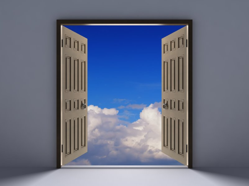 open door blue sky
